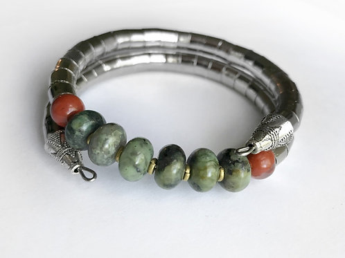 African Turquoise + Red Jasper Armlet