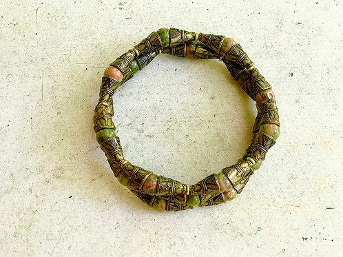 Unakite + Ornate Bronze Tone Armlet