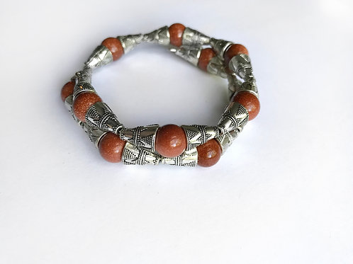 Goldstone + Ornate Silver Tone Armlet
