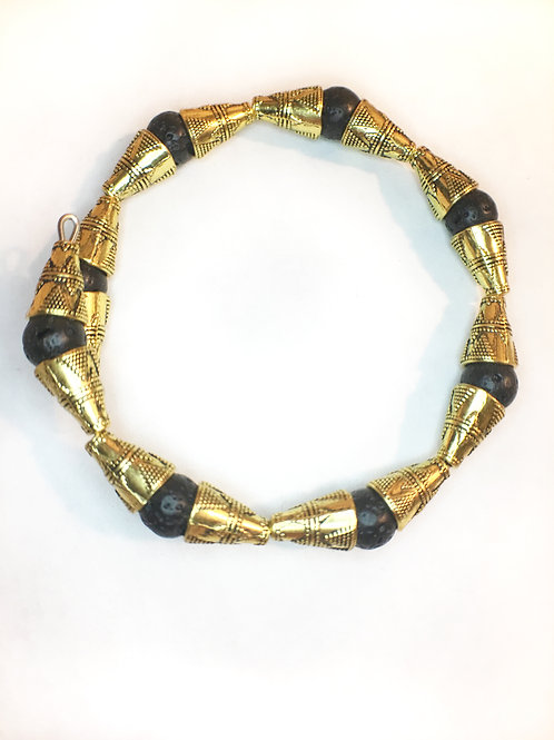 Black Lava Stone + Ornate Gold Tone Armlet