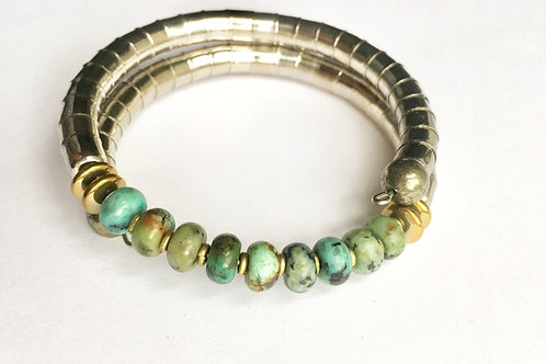 African Turquoise Armlet - Silver Tone Band