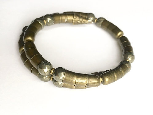 Faceted Pyrite + Bronze Tone Armlet