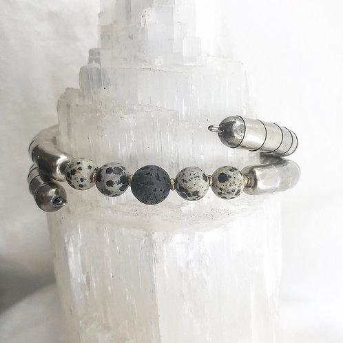 Black Lava Stone + Dalmatian Jasper Necklet