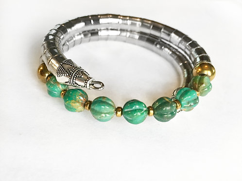 Premium Carved Turquoise Armlet - Silver Tone Band