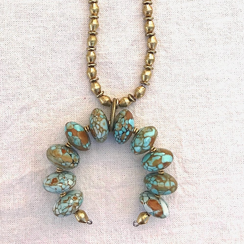African Turquoise Squash Blossom Necklace + African Brass Chain