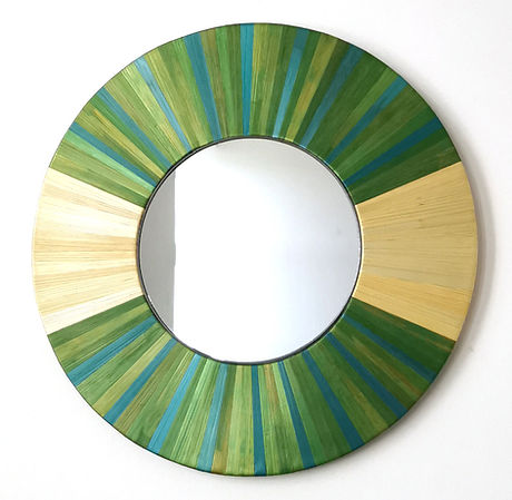 Miroir en marqueterie de paille, motif rayonnant / Mirror with marquetry of straw.jpg