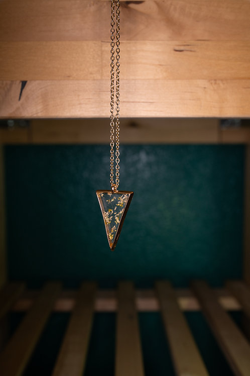 Dried Flowers Triangle Necklace