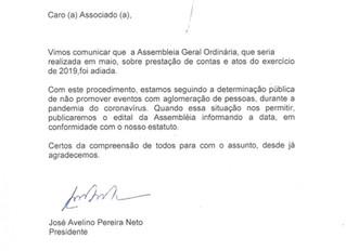 Sindicato Rural adia Assembleia Geral Ordinária