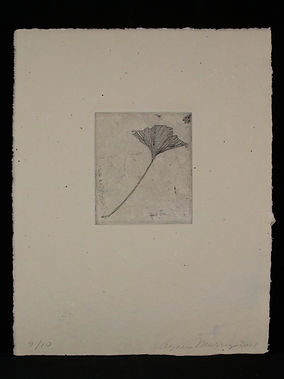 Etching on found plate, handmade paper