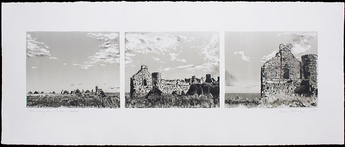 Approaching Slains Castle, triptych (monotype)