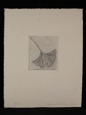 Etching on found plate, handmade paper,