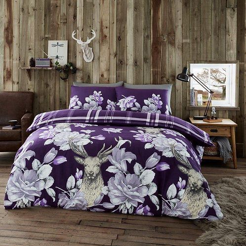 Laura Stag Flannel 100% Cotton Thermal Duvet Covers, Single Size