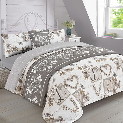 Sweet Love Duvet Covers that open on 3 Sides. (Bed in a Bag) Double Size