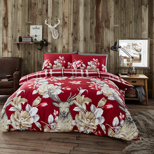 Laura Stag Flannel 100% Brushed Cotton Thermal Duvet Covers, Kingsize