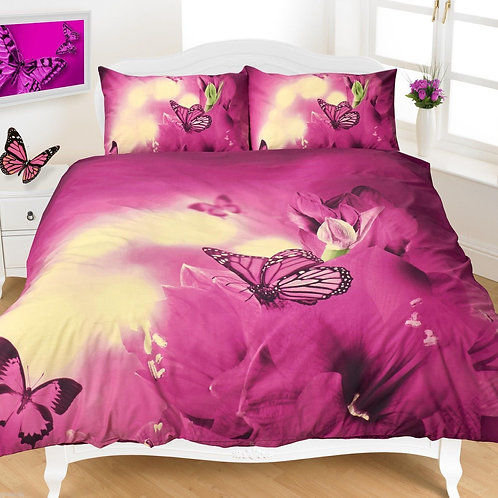 Butterfly Print Duvet Covers that Open on 3 sides. Single Size