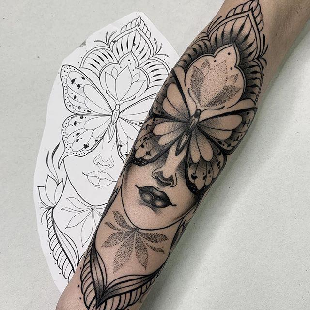 Arm sleeve realistic tattoo design