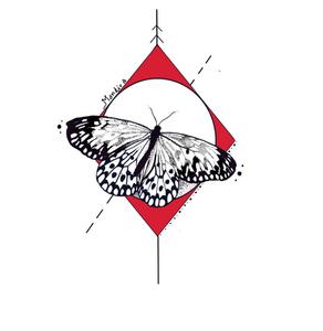 butterfly in rhombus tattoo by Mandira