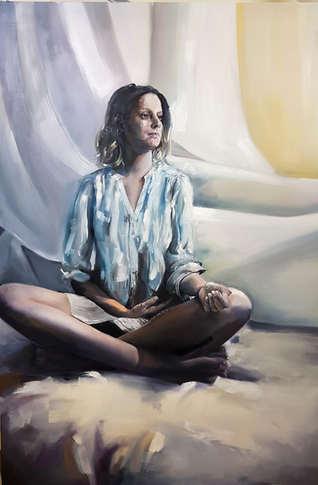 Woman in white portrait