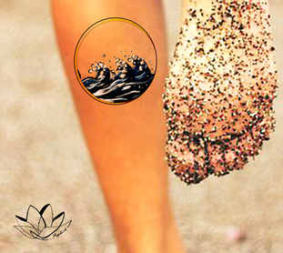 Waves in circle colour tattoo design
