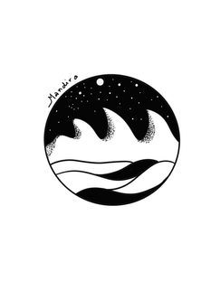 Waves and Sky in circle tattoo custom design