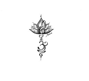Lotus with sol key and Breath Symbol tattoo custom design