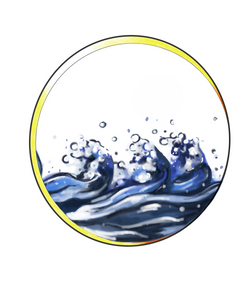 Colour waves in circle tattoo design