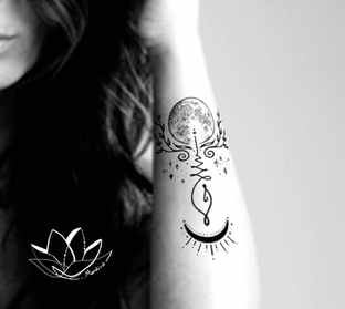 Unalome with moon & branches custom tattoo design