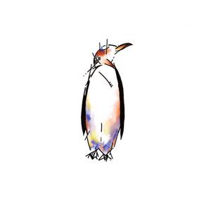 Penguin watercolour tattoo design