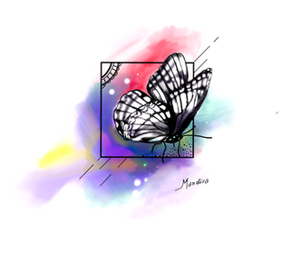 Upper back coloured butterfly by Mandira