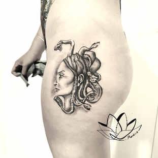 Medusa custom hip tattoo