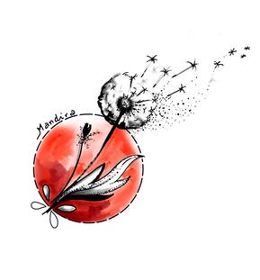 Dandelion black and colour custtom tattoo design