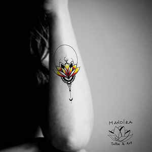 Red Lotus mandala tattoo by Mandira