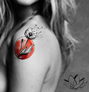 Dandelion shoulder custom tattoo design