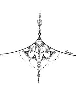Mandala sternum tattoo design