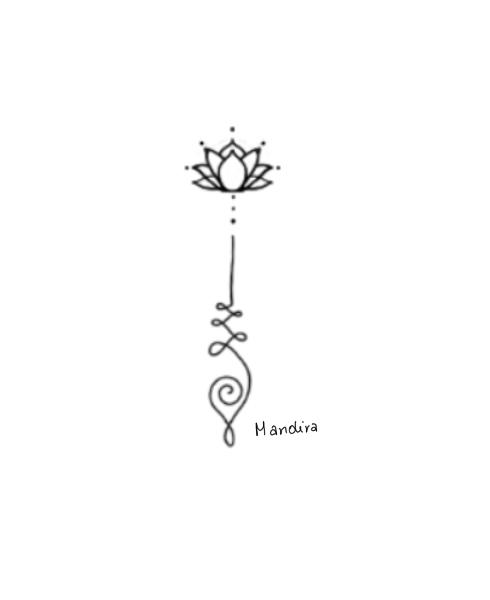 Unalome with lotus minimal mandala tattoo custom design