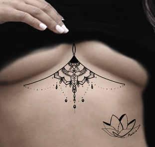Under-breast mandala custom tattoo design by Mandira