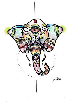 Elephant colour mandala design