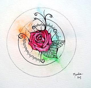 Watercolour and pen Rose mandala