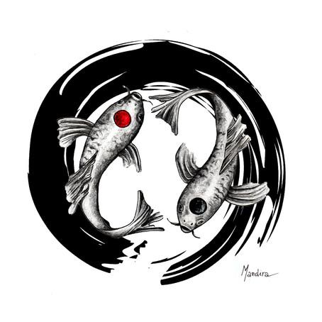 Tattoo symbols - Koi fish and yin yang