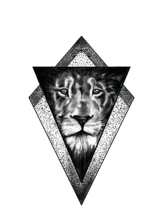 Realistic lion in triangle custom design