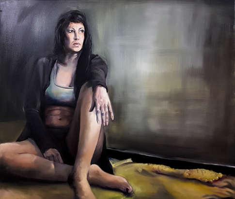 Woman i n grey seated portrait