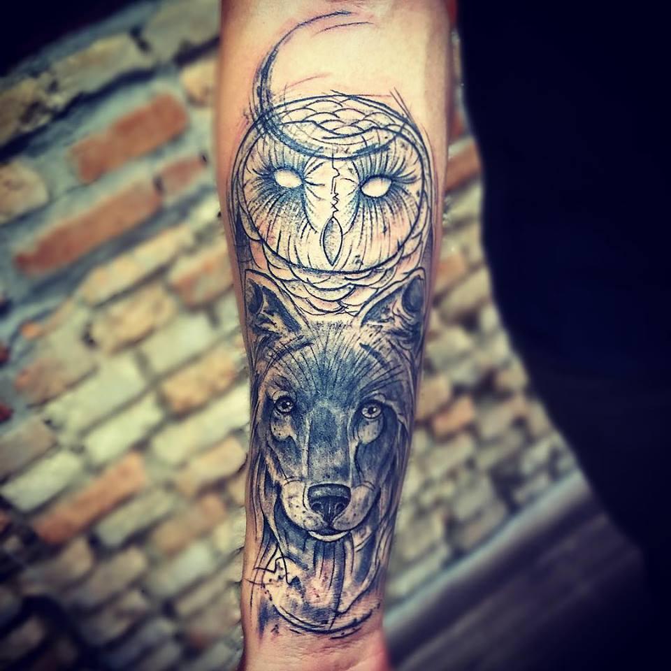 Lobo e Coruja abstrato