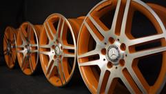 Diamond Cut AMG Alloys with Orange Inlay