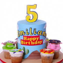 Pastel de Toy Story con cupcakes