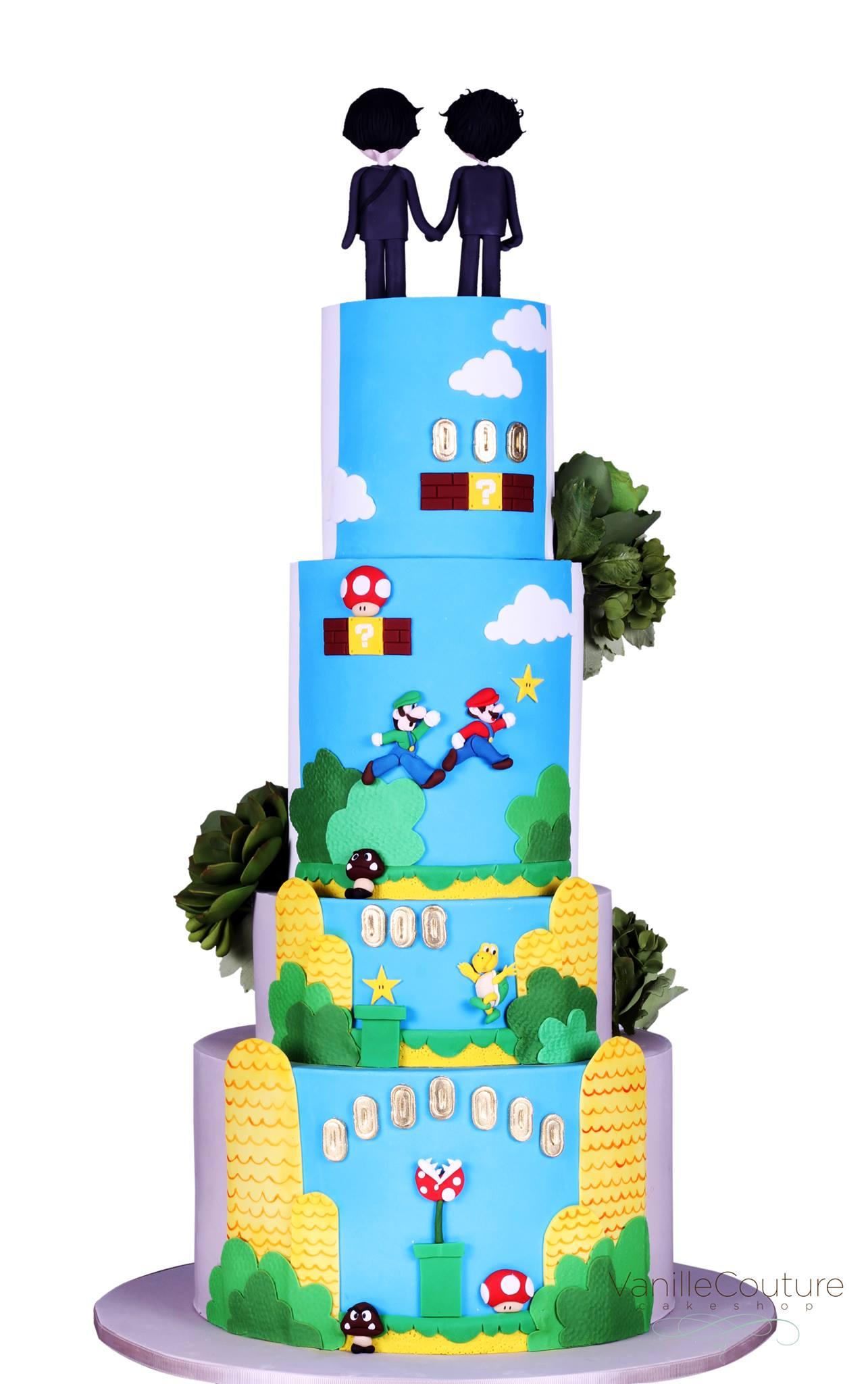 Pastel de boda Mario Bros