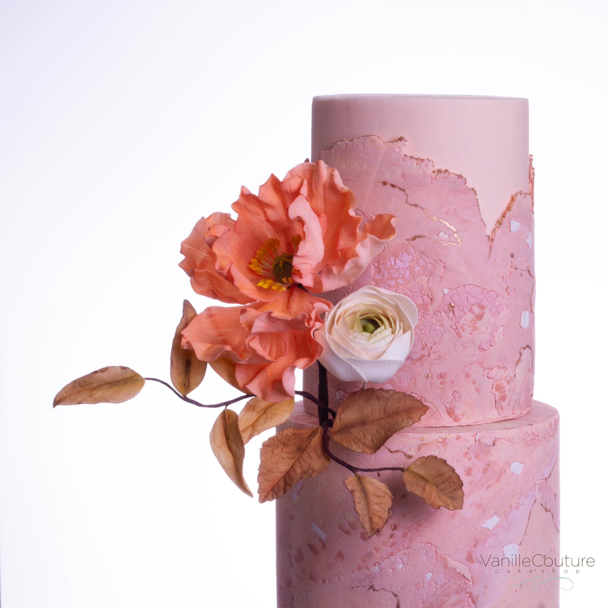 Pastel de boda amapolas rosa y naranja