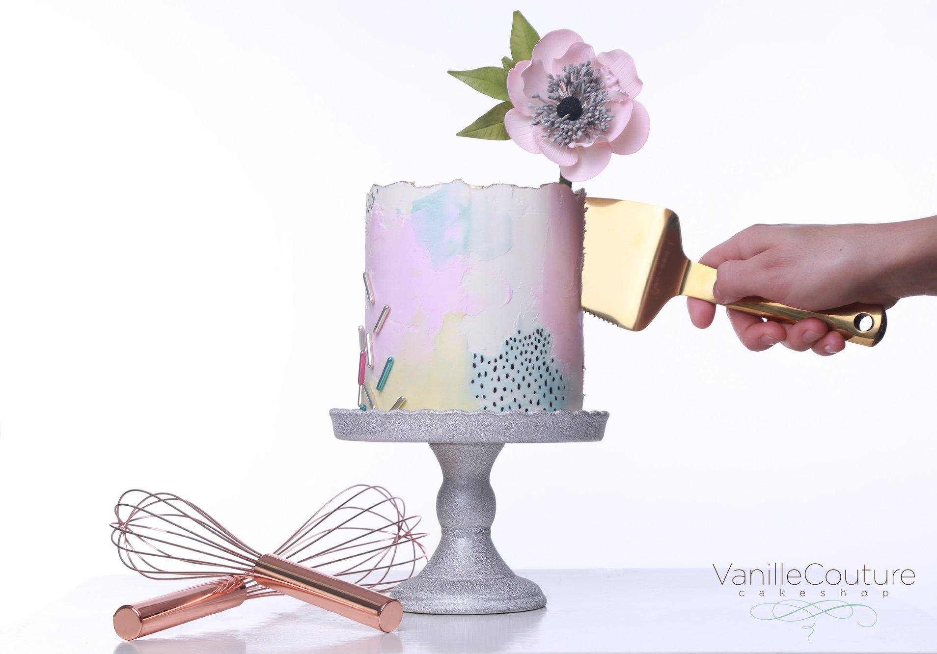 Pastel de cumpleaños con flor