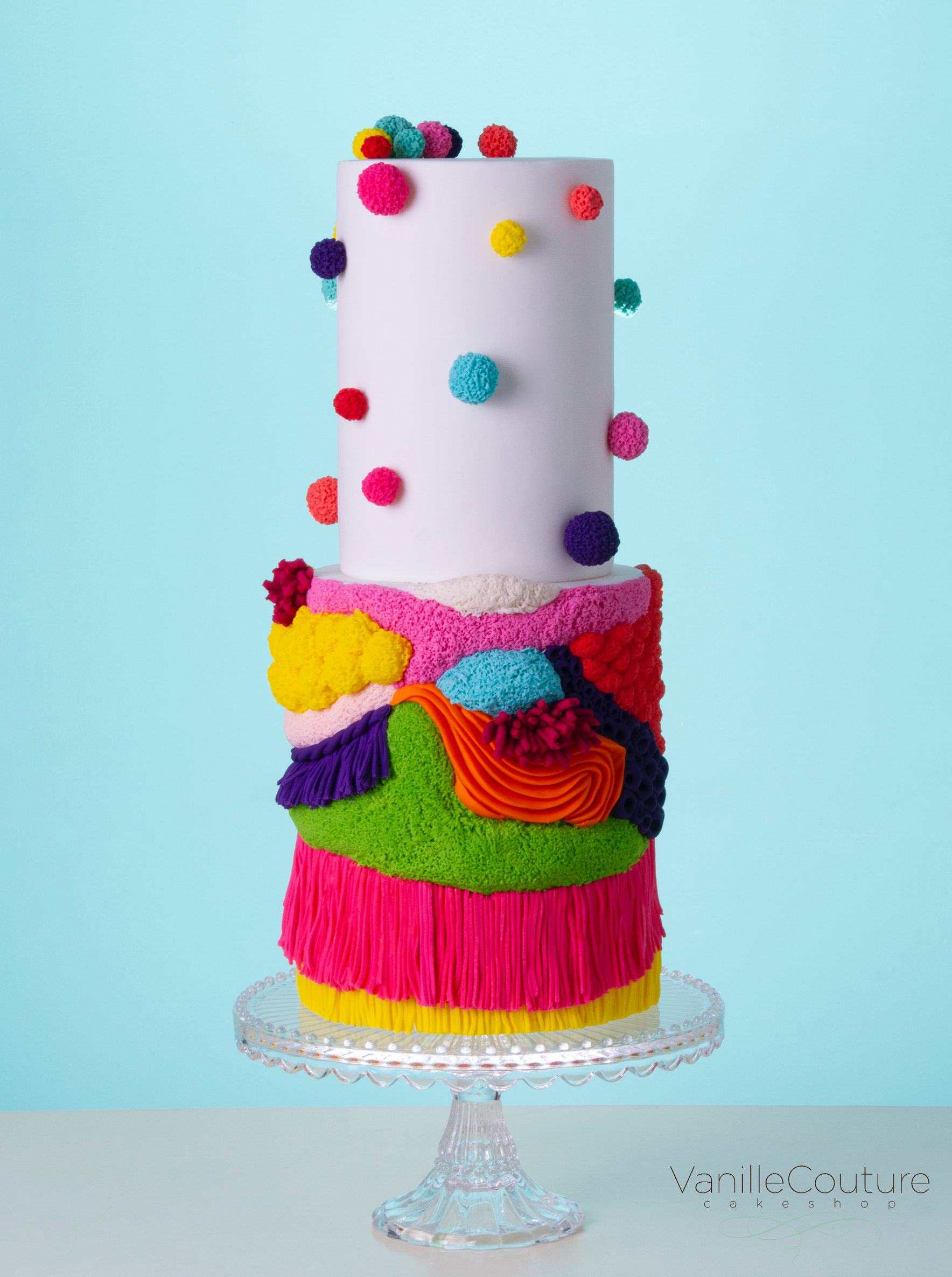 Pastel de fondant colorido texturas