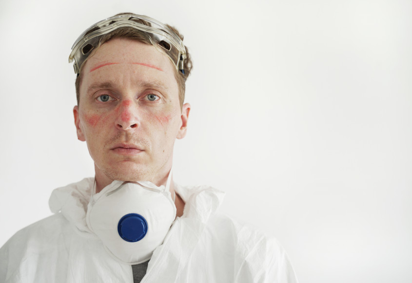 Medical worker with bruised face from face mask - safety gear