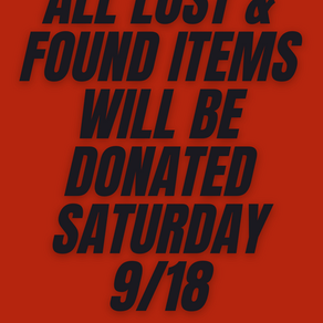 Lost & Found Being Donated Saturday 9/18